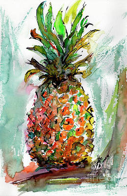 Painting - Pineapple Ananas Watercolor  by Ginette Callaway