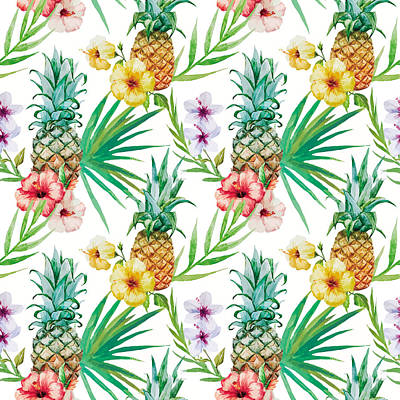 Tropical Digital Art - Pineapple And Tropical Flowers by Vitor Costa
