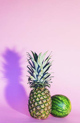 Food And Beverage Royalty-Free and Rights-Managed Images - Pineapple And Watermelon by Happy Home Artistry