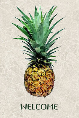 Pineapple Painting - Pineapple Express On Mottled Parchment Welcome by Elaine Plesser