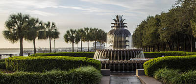 Photograph - Pineapple Fountain And Palm Trees Charleston Sc by John McGraw