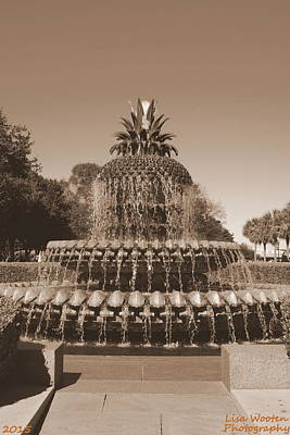 Photograph - Pineapple Fountain Charleston S C Sepia by Lisa Wooten