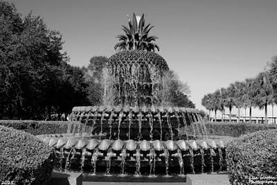 Photograph - Pineapple Fountain Charleston Sc Black And White by Lisa Wooten