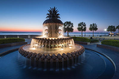 Palmetto Tree Photograph - Pineapple Fountain Charleston Waterfront Park by Mark VanDyke
