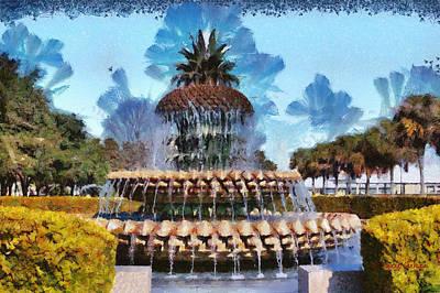 Pineapple Fountain Art Print by Lynne Jenkins