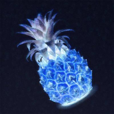 Mixed Media - Pineapple Glowing In The Dark by Anton Kalinichev