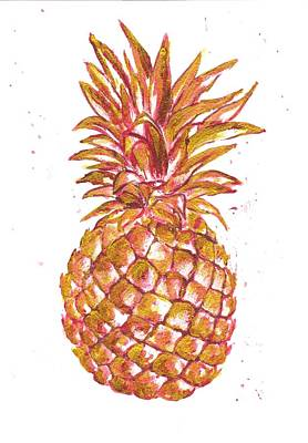 Pineapple Mixed Media - Pineapple Gold Pink by Del Art