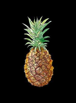 Painting - Pineapple On Black by Masha Batkova