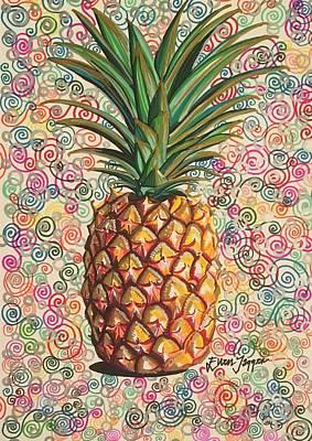 Swirly Drawing - Pineapple Pattern by Ellen Jagger