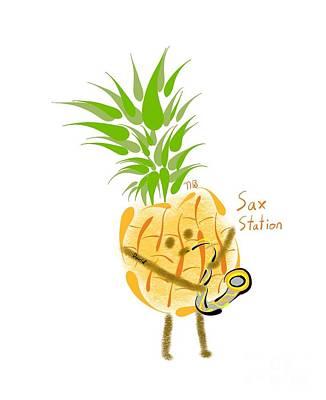 Digital Art - Pineapple Playing Saxophone by Neal Battaglia