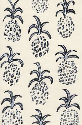 Black And White Painting - Pineapple Print by Anne Seay