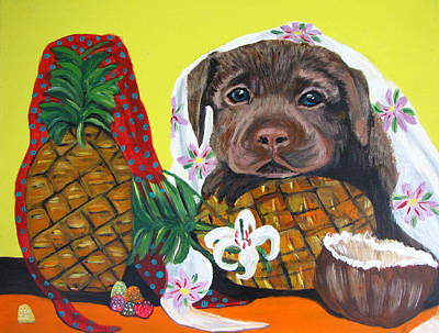 Painting - Pineapple Puppy by Aleta Parks