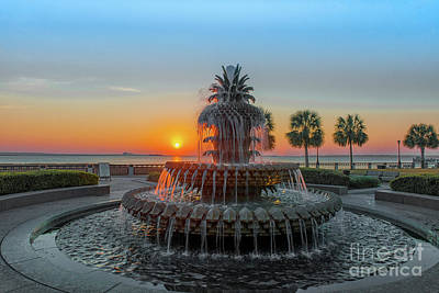Photograph - Pineapple Sunrise Over Charleston South Carolina  by Dale Powell