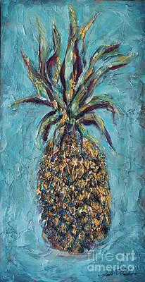 Painting - Pineapple Teal by Linda Olsen