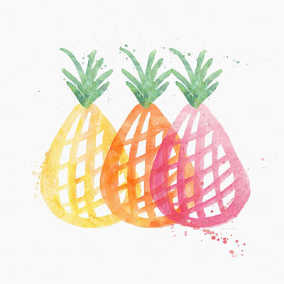 Living Room Art Painting - Pineapple Trio by Linda Woods