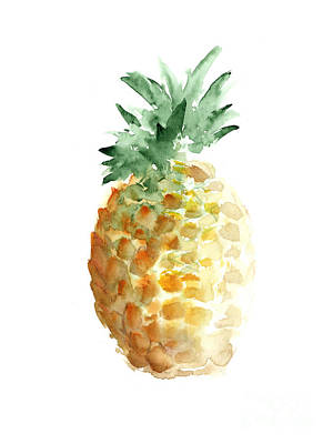 Fruits Painting - Pineapple Watercolor Minimalist Painting by Joanna Szmerdt