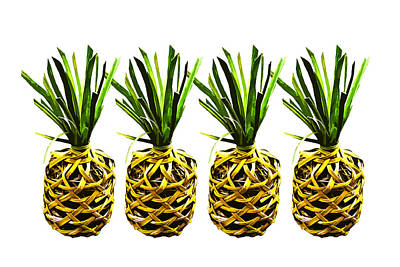 Handcrafted Digital Art - Pineapple X 4 by Totto Ponce