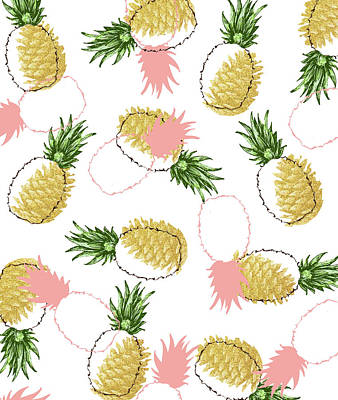 Digital Art - Pineapples And Pine Cones by Uma Gokhale