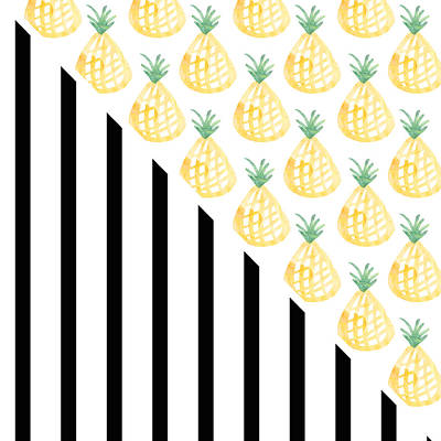 Black And White Art Mixed Media - Pineapples And Stripes by Linda Woods