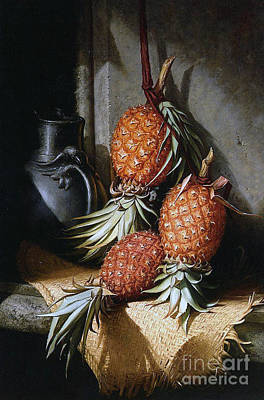 Matting Painting - Pineapples, Circa 1880 by Frederick S Batcheller
