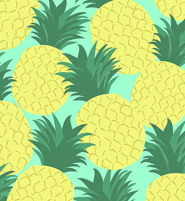 Pineapple Drawing - Pineapples For Days by Arte Flora Design Stuio