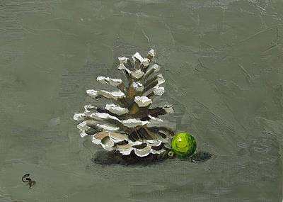 Painting - Pinecone With Bauble by Grace Diehl