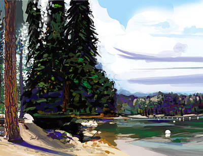 Cedars Painting - Pinecrest Lake by Brad Burns