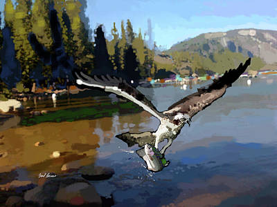 Pinecrest With Osprey And Trout Art Print by Brad Burns