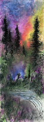 Mixed Media - Pines In Misty Light by R Kyllo