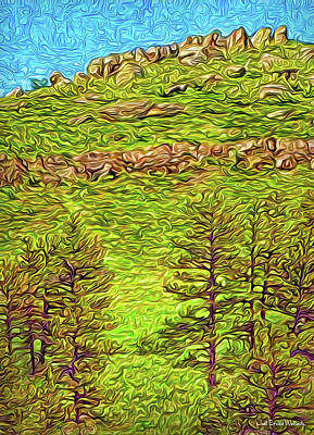 Digital Art - Pines With Ancient Stones by Joel Bruce Wallach
