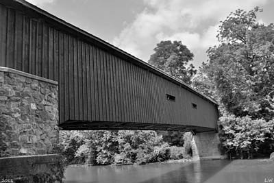 Photograph - Pinetown Bushong's Covered Bridge Black And White by Lisa Wooten