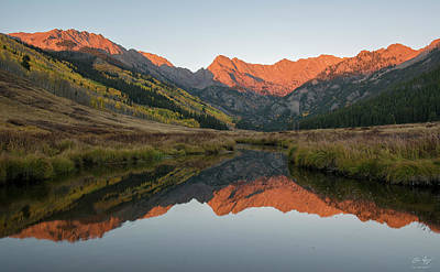 Gore Range Photograph - Piney River Autumn Sunrise by Aaron Spong