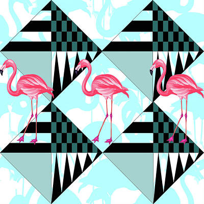 Retro Digital Art - Ping Flamingo by Mark Ashkenazi