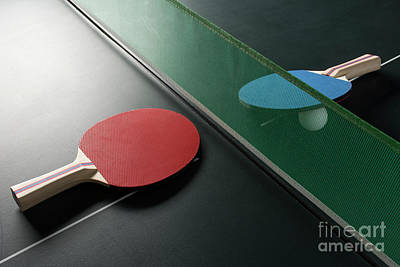 Photograph - Ping Pong Paddles On Table With Net, Harsh Light by Jason Kolenda