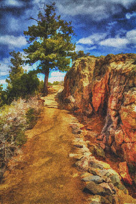 Pinion Photograph - Pinion Pine Guarding The Trail Digital Painting by Roger Passman