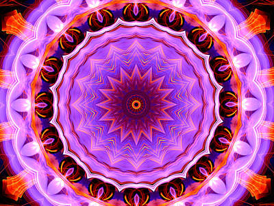 Digital Art - Pink 16-petals Kaleidoscope by Ernst Dittmar