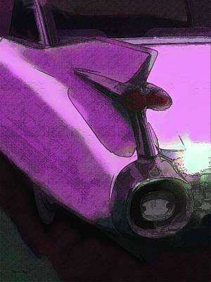 Digital Art - Pink 1959 Cadillac Tailfin Pop by David King
