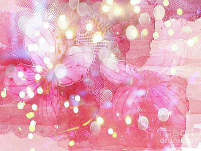 Photograph - Pink Abstract Butterflies Fantasy Fairytale Bokeh Lights Watercolor  by Kathy Fornal
