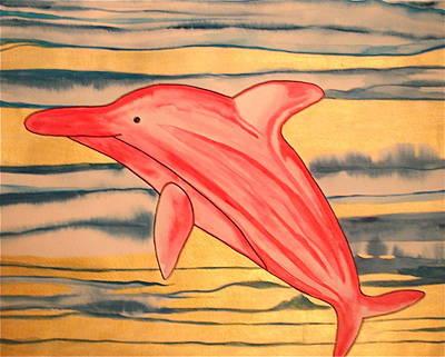 Painting - Pink Albino Dolphin by Erika Swartzkopf