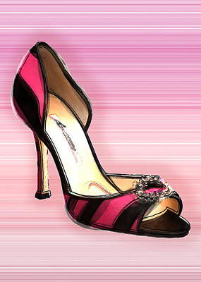 High Heels Painting - Pink And Black Stripe Shoe by Elaine Plesser