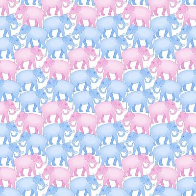 Animals Digital Art - Pink And Blue Elephant Pattern by Antique Images