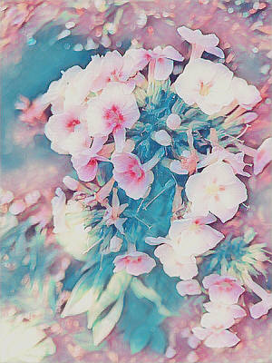 Mixed Media - Pink And Blue Floral Fantasy by Maggie Vlazny