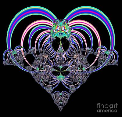 Pink And Blue Heart Fractal 82 Art Print
