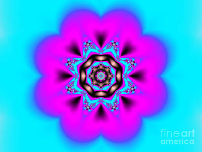 Digital Art - Pink And Blue Kaleidoscope by Tracey Everington