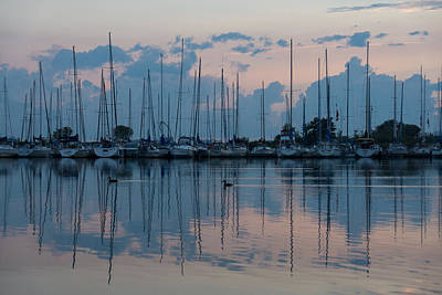 Particoloured Photograph - Pink And Blue Peace - Still Sailboat Reflections by Georgia Mizuleva