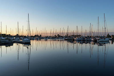 Photograph - Pink And Blue Serenity - Soft Dawn At The Marina by Georgia Mizuleva