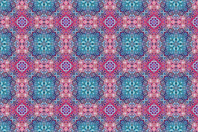 Digital Art - Pink And Blue Victorian Pattern by Ruth Moratz