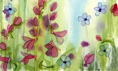 Painting - Pink And Blue Wildflowers by Dawn Derman