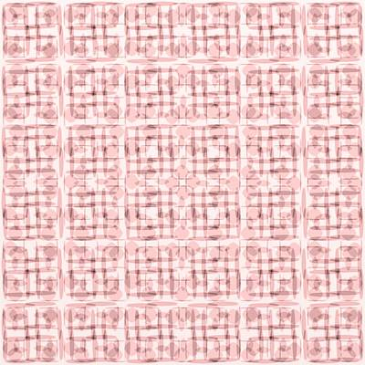 Pink And Brown Geometric Shapes In Blocked Pattern Art Print