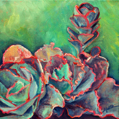 Agave Painting - Pink And Frilly by Athena  Mantle